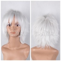 Anime wig silvery white wig stubbiness 34cm high temperature hair full lace cosplay wig