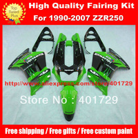 Motorcycle body work for Ninja ZZR250 ZZR-250 1990-2007 free gifts green/black ABS Plastic fairing kit