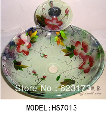 2013 bathroom glass vessel sink with waterfall faucet(China (Mainland))