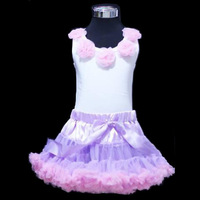 Free shipping Baby clothing,Pettiskirt set,flowers white top+light purple with pink ruffle, ,5sets/lot