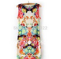 2014 Womens Sleeveless Retro Sexy Mini dress Flower Print Sexy Chiffon Dresses  Fashion Chiffon  Dress Hot sale