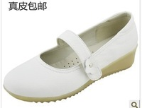 Free shipping white nurse shoes wedges genuine leather cow muscle maternity mother shoes loafers flats leather women shoes