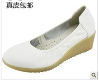 Free shipping White nurse shoes genuine leather cow muscle shoes flat shoes sneakers gunuine leather loafers mother shoes 607