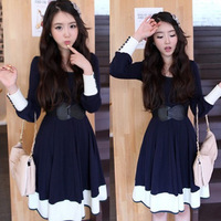 2013 spring and autumn spring dress school wear o-neck color block slim waist long-sleeve dress with belt for women's female