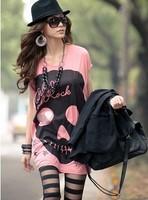 2014 Woman Fashion t shirt Skull clothing Skeleton Summer shirts woman Tees Tops 2014 New