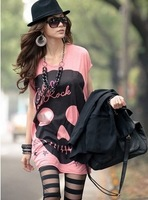 East Knitting AA-290 2013 Woman Fashion t shirt Skull clothing Skeleton Summer shirts woman Tees Tops 2013 New