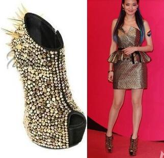 2013 luxe mesdames unique. or,/argent strass pointes pompes chaussures de soirée livraison gratuite