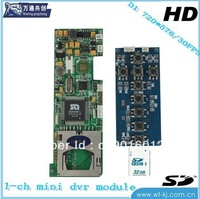 free shipping  Mini DVR module of 1 channels with 32 SD card and motion detect
