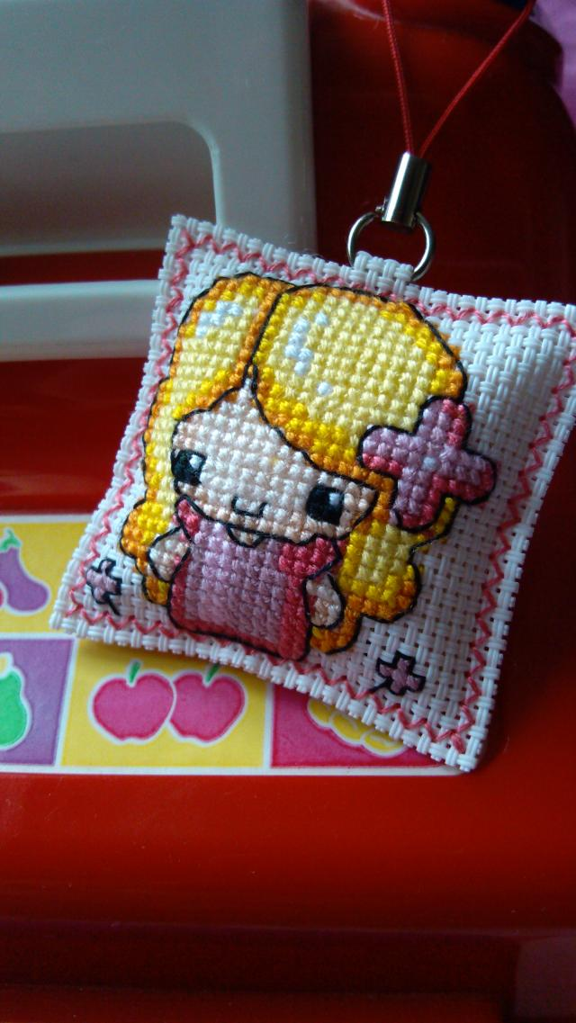 free shipping Cross stitch double faced embroidery, little girl mobile phone chain mobile phone pendant small(China (Mainland))