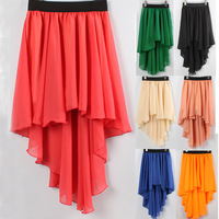 2013 spring and summer fashion chiffon full dovetail bust skirt irregular women skirt,A variety of colors free shippping