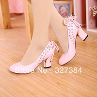 XX0305 Fashion Lady Pumps Spring and Autumn Lacing Bow High Heel Women Single Shoes Candy Solid Color Sweet Pumps Free Shipping
