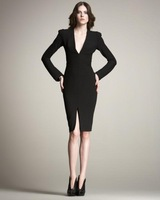 free shipping fashion perfect curve V-neck ol slim suit  women's long-sleeve dress