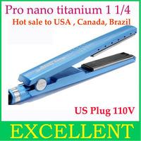 "Free shipping (CPAM) to Brazil+2 pcs/lot+prancha /hair plate nano titanium 1 1/4"" hair straightener titanium plates"