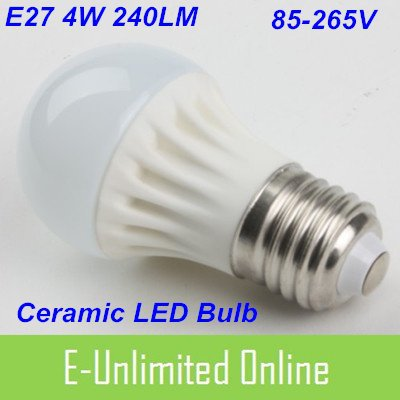 Free Shipping by DHL/FedEx, LED Lamp E27 4W 85-265V 240LM LED Light White Ceramic LED Bulb(China (Mainland))