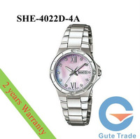 Luxury SHE-4022D-4A Women's Watch Rhinestone Mineral Glass Dive Watches Wristwatch Free Ship With Original box