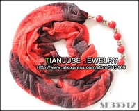Free shipping + 6pcs /lot ! New design 2013 scarf women jewelry, red+black tone, classic design in summer