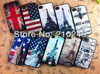 Wholesale 200pcs/lot New Fashion Retro USA UK Flag TOWER Hard Cover Case For iPHONE 4 4S 4G