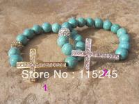 Free Shipping Fashion Turquoise Beads Sideways Rhinestone Crystal Cross Bracelet Set BS137