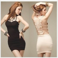 2013New Fashion Women'Tony Party Sexy Dress Retail Wholesale Black Beige racerback cutout crochet sexy hip slim spaghetti strap