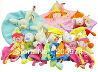 Free shipping-10pcs/lot Nicotoy Cuddle Cloth With Rattle Soft Plush Baby Toy Plush Toys