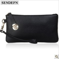 Free shipping make up  women genuine leather wallet , lady  cowskin bag purse, western cow leather evening party wallet