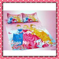 4pcs Set 100% Cotton three princess Printing Bedding Set Kid Children's Free Shipping