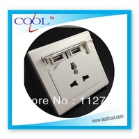 DHL FEDEX  Free Shipping CE&ROHS USB Charging Wall Socket with Dual USB Port Interface 200pcs/lot White