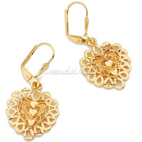 Fashion Womens Gold Filled Hollow Heart Charm Earrings Leverback Drop Dangle Earrings (20mm X 40mm) GE33