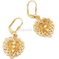 Fashion Womens Gold Filled Hollow Heart Charm Earrings Leverback Drop Dangle Earrings (20mm X 40mm) GE33
