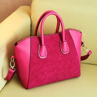 Free Shipping 2013 High quality fashion women's handbag nubuck PU leather smiley bag vintage shoulder bag f369