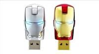 Wholesale Hot sale Fashion Avengers Iron Man LED Flash 1-128GB USB Flash 2.0 Memory Drive Stick Pen/Thumb/Car Ub263