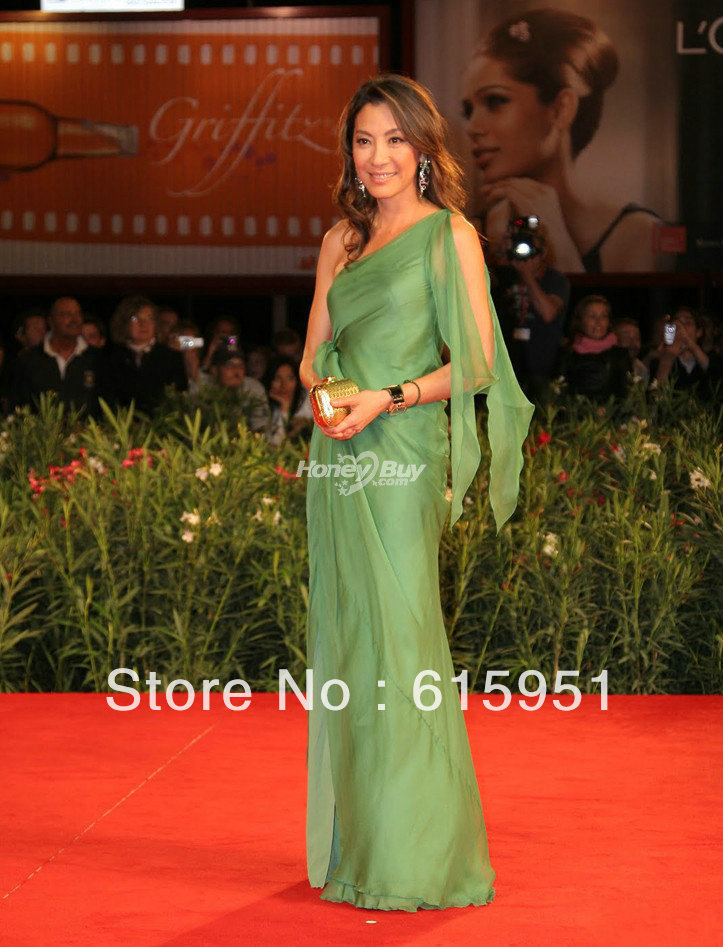 Dresses Collection Michelle Yeoh Grecian Green Dress for Venice Film Festival 2010 Reign of Assassins Premiere JY848(China (Mainland))