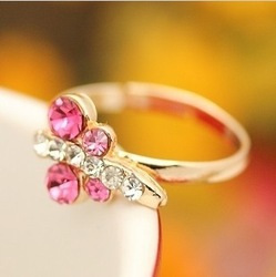 Small dragonfly diamond finger ring artificial diamond female ring female ring finger ring(China (Mainland))