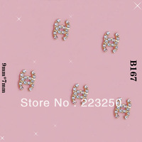 Free Shipping 100pcs/Bag 9*7mm Spider 3D Metal Nail Art Decorations +Shining Rhinestones B167 Alloy Crystal Metallic Diamond