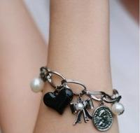 Free shipping Women head portrait vintage peach heart pearl round bow bracelet s188  min order $10