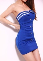 Uniform temptation women's sexy slim hip slim tube top one-piece dress navy style