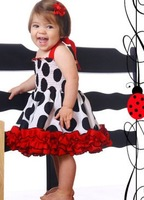 (5pcs/lot)Summer lovely dot printed lace suspender dress for baby girls princess dress Free shipping