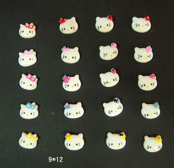 100 pcs/lot Hot Sales NAIL ART Resin HELLO KITTY  Decoration Colors Bowknot 100pcs/bag wholesales  SKU#D2028