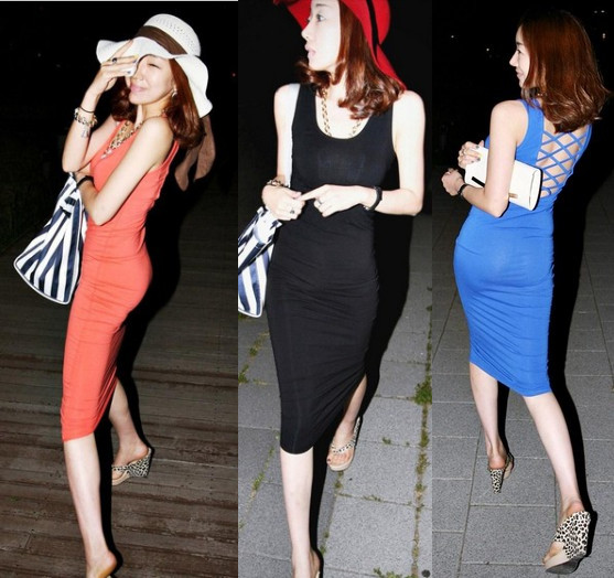 Free shipping Back cross hold racerback long design slim hip solid color slim sexy tank dress(China (Mainland))