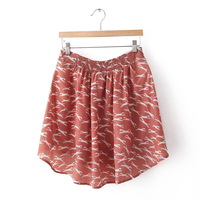 women fashion elastic  heart-shaped print chiffon mini skirts