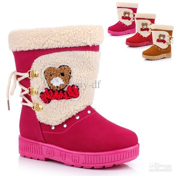 2013 child snow shoes knee-high boots female fashion cotton-padded shoe bear cotton b2