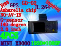 Free Shipping Car Recorder Mini X3000 AV With + Full HD 1080P 30FPS + G-Sensor + GPS Logger + H.264 + Remote Control(GD-02)