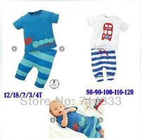 Retail! 2013 Summer Short Sleeve Baby Boys Set Cute caterpillar Design Clothing Suits Stripe Shirt+Pants 2 Piece Sets
