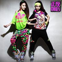 Dance Harem pants Hip hop Patchwork Neon sports Harem pants 2 ways before and after two ways Punk sports pants Jogger women