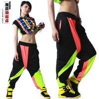 CLC-30 New 2014 Harem pants Hip hop harem pants Neon patchwork Sports Casual Jazz women joggers sport women dance pants fashion