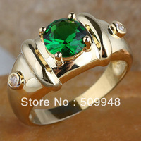 Men 7mm Round White Topaz Black Onyx Green Emerald 18K Gold Filled Ring R115 GFLM Size 10 11 12 J8191 Anniversary Gift