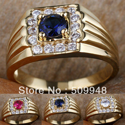Men White Topaz Stone Blue Sapphire Red Ruby 18K Gold Filled Ring R116 GFLM Size 10 11 13 J8194 Sales promotion(China (Mainland))