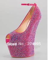 2013 hot sale peep toe pink crystal high heel wedge women shoes