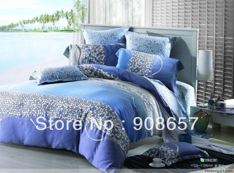 Novo azul Mosaic imprime luxo Tencel tecido 800 fios contagem Queen / roupa de cama completa conjunto de cama moderno quilt / capas de edredão 4 pcs(China (Mainland))