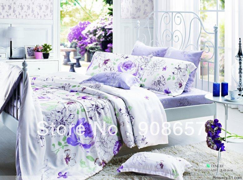 Flores roxas impresso luxuoso Tencel tecido 800 fios contagem Queen / roupa de cama completa conjunto de cama quilt / capas de edredão 4 pcs da menina(China (Mainland))